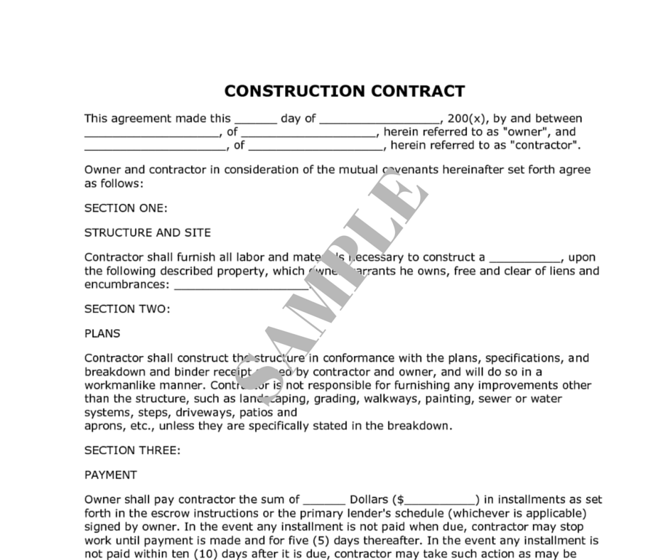Example construction contract – Sean